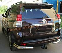 Защита заднего бампера уголки двойные D60-42 на Toyota Land Cruiser Prado 150 2009