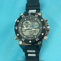 Мужские часы I-Polw FS627 черные с белым на каучуковом ремне водонепроницаемые противоударные с подсветкой