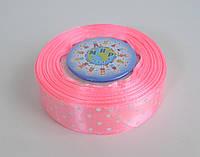 Лента атласная 25 мм Горох Розовая