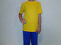 Футболка желтая детская хб с коротким рукавом