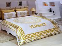 Комплект атласного постельного белья версаче с простынью на резинке
