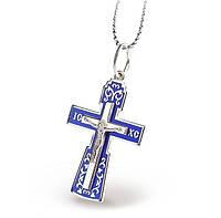 Крестик серебро с синей эмалью, позолотой и распятием 34912
