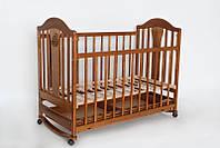 Детская кроватка «НАПОЛЕОН NEW» с ящиком, колесо-качалка орех