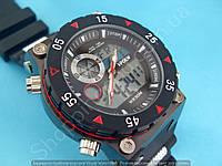 Мужские часы I-Polw FS627 черные с красным на каучуковом ремне водонепроницаемые противоударные с подсветкой