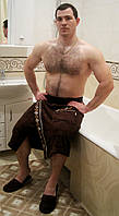 Набор для сауны мужской, килт+тапочки Nusa 040 коричневый