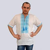 Вышиванка мужская, белый лен, бирюзовая вышивка