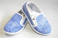 Детские слипоны тапочки из текстиля для девочек от фирмы Малибу DeMur джинс однотонные Nitmax (26-30)