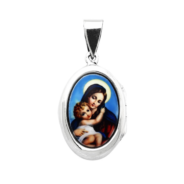 Серебряная ладанка Дева Мария с младенцем