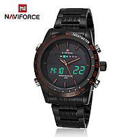 Мужские наручные часы Naviforce NF9024Dual Movt Men Quartz Analog Digital LED Wristwatch Calendar, фото 1