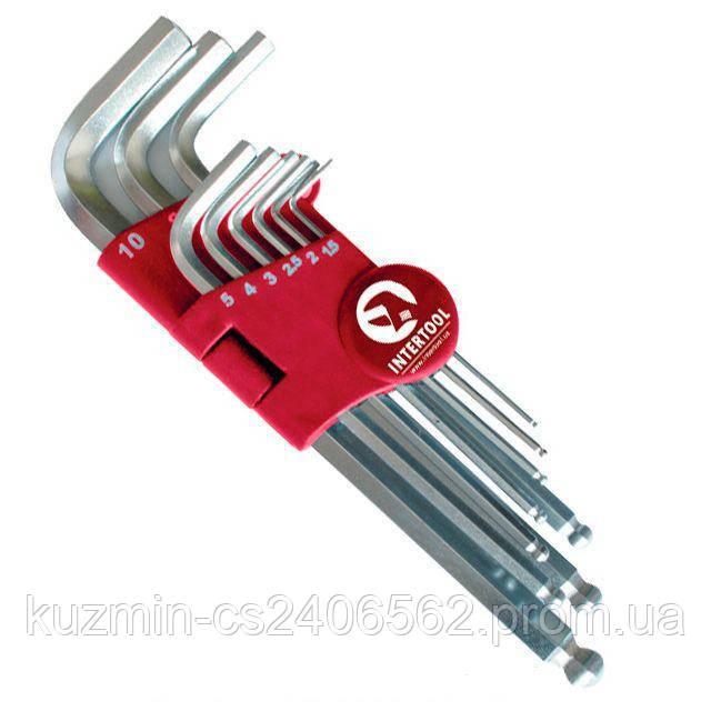 Набор Г-образных шестигранных ключей с шарообраз. наконеч, 9 ед.,1.5-10 мм, Cr-V, 55 HRC Big INTERTOOL HT-0603