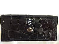 Кошелек лаковый черный магнит, фото 1