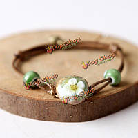 Китайская керамика цветок переплетения воск канат браслет ювелирных изделий