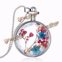 Круглые стеклянные сухой цветок женщин сплава ожерелье ювелирные изделия Рождественский подарок