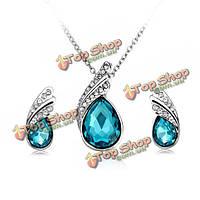 Комплект ювелирных изделийкристальные серебряные ожерелье и серьги