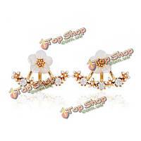 Милый цветок ромашка кристалл 925 серебряные иглы уха серьги стержня для женщин