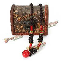 Старинные ручной работы красный шарик черный агат ожерелье ювелирных изделий