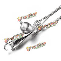 925 Clear серебро ожерелье кота кулон прекрасный сладкий ювелирные изделия