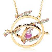Время токарь вращающихся песочных часов ожерелье золота посеребренные