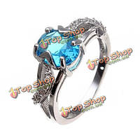 18k платиновый покрытием листьев овал циркон палец кольцо для женщин