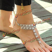 Старинные антикварные серебряные цветы пляж Anklet женщины ювелирные изделия