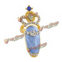 Серебро Золото сладкий бантом корона горный хрусталь жемчуг ногтей кольцо