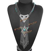 Богемной этнических серебряный бирюзовый треугольник ожерелье кисточкой заявление