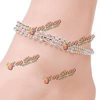 Браслет на ногу 3 цепочки серебряных стразов
