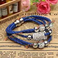 Многослойные бусины rhinestone Перл браслет плетеный кожаный браслет