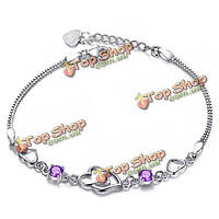Австрийских кристаллов циркона двухместный сердце браслет для женщин