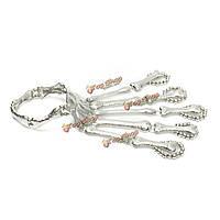 Серебро прилива скелет кости черепа рука сустава пальца браслет