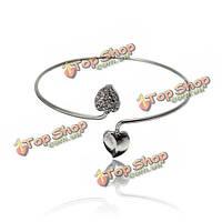 Серебро двойной сердце любовь манжеты браслет ювелирных изделий женщина