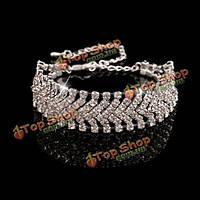Кристалл горный хрусталь широкий браслет цепочка браслет женщин ювелирные изделия