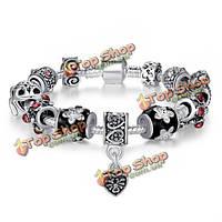 925 серебро тибетские бусины муранского стекла кристалл сердце браслет