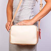 Кремовая прямоугольная сумочка женская №1370