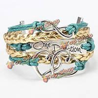 Многоцветный одном направлении бесконечность сердце плетеный кожаный браслет