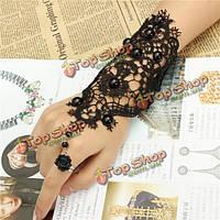 Свадьбу черный бисер цветок розы кружева кольцо браслет для женщин