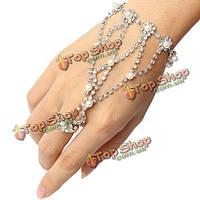 Серебряный позолоченный горный хрусталь жемчужное кольцо браслет металлический браслет-цепочка