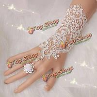 Жемчужные кружева свадебные перчатки свадебные кольца браслет для женщин