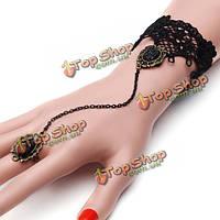 Ретро черное кружево готическая леди кольцо браслет ручной работы ювелирные изделия