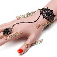 Готический черный паук веб кольцо браслет для женщин старинных ювелирных