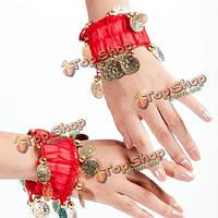 Танец живота запястья лодыжки манжеты золотые монеты бисер браслеты