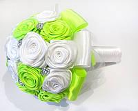 Свадебный Брошь-букет Бело-салатовый