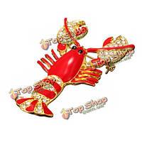 Красная эпоксидная эмаль омаров кристалл горный хрусталь булавка брошь аксессуары