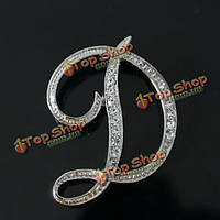 Серебряный позолоченный rhinestone английские буквы брошь для женщин