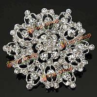 Серебряный кристалл rhinestone полые цветок свадебный брошь pin