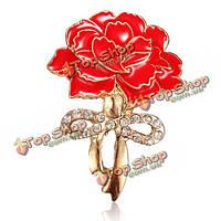 Красная эмаль цветок гвоздики кристалл циркона брошь булавка аксессуары