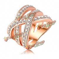 Кольцо двойное переплетение с камнями позолота