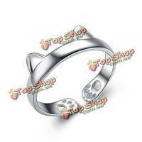 Мило 925 посеребренные кошка уголок раскрытия кольца для женщин регулируемыми