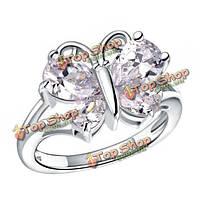Платина розовое золото позолоченный циркон кристалл бабочка кольцо перста для женщин