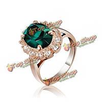 Итальянском розовое золото кристалл палец кольцо изумруд красного вина женщины ювелирные изделия